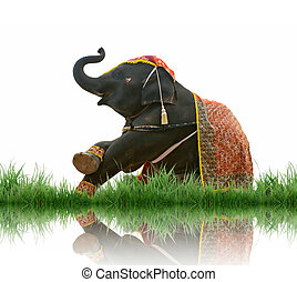 elephant with green grass isolated