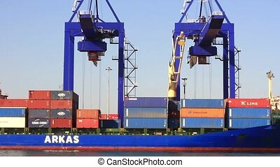 Container Transportation - Cargo ship docked in the port