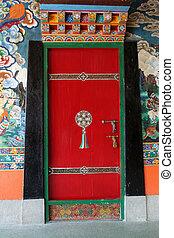 Colourful Door - Decorative, colourful door at Rumtek...