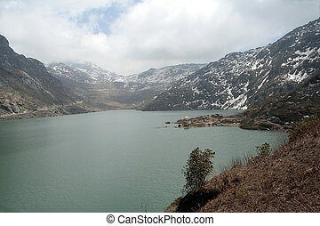Mountain Lake - Tsomgo Lake, 12400 feet altitude, Ganktok,...