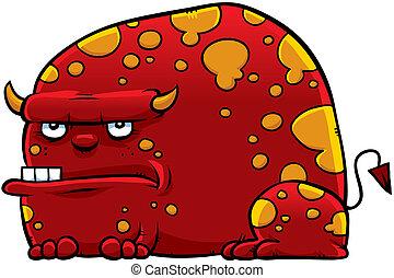 Red Cartoon Monster - A grumpy, red cartoon monster.
