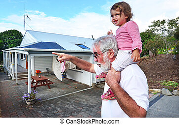 Grandfather and Grandchild Relationship - Grandfather carry...