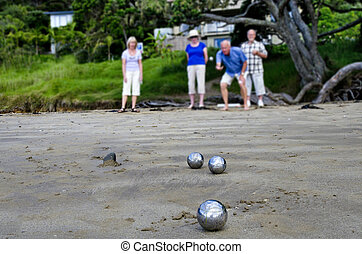 Sport and Recreation - Petanque - Old people playing boules...