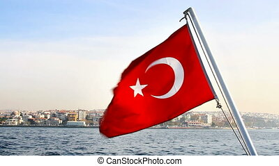 Turkish Flag waving on the sky. Seamless loop
