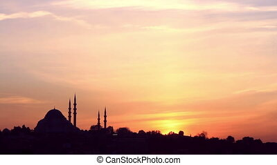 Sunrise in Istanbul - Suleymaniye Mosque at sunset
