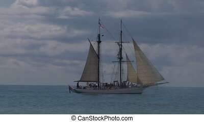 schooner cannon 02 - Schooner fires a cannon