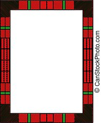Plaid Frame in Red with Green - Illustration of a red plaid...