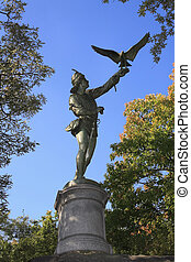 The Falconer statue Central Park NY - Statue of the Falconer...