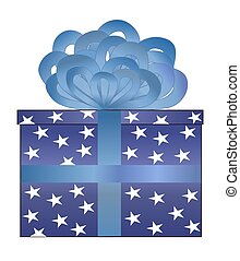 Blue Wrapped Present wBlue Bow - Illustration of a present...