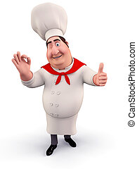 Funny chef with best luck - 3D illustration of Funny chef...