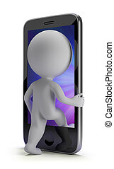 3d small people - login to your phone - 3d small person...