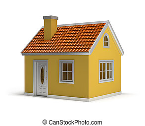 house - yellow house. 3d image. Isolated white background.