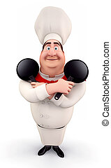 Happy chef with pan - 3D illustration of Happy chef with pan...