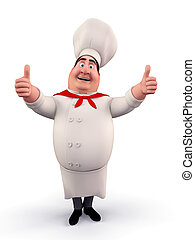 Happy chef with best luck - 3D illustration of Happy chef...