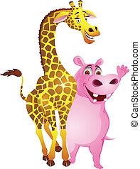 Giraffe and hippo