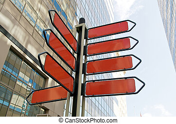 Blank Street Sign - Blank red street direction signs