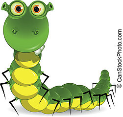 green worm - illustration of a green worm with big eyes