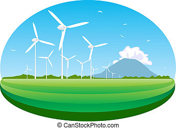 Wind turbine. Concept of ecology and environment.