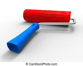 3d illustration of a roll paint red and blue on white background