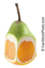 Hybrid of Pear and Orange on White Background