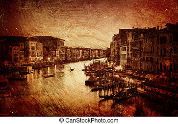 Textured image of Grand Canal in Venice
