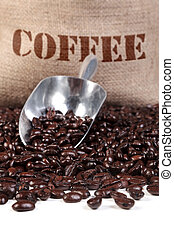 Coffee beans sack and scoop - Photo of fresh roasted coffee...