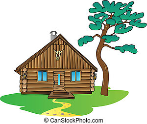 Wooden cabin and pine tree - vector illustration.