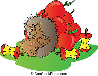 Hedgehog with apples - vector illustration.