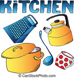 Kitchen dishes collection - vector illustration
