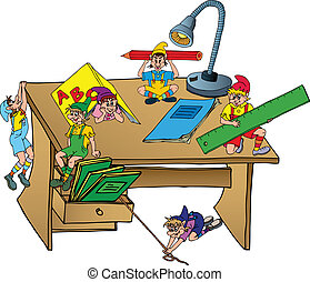 Elves on school table - vector illustration.