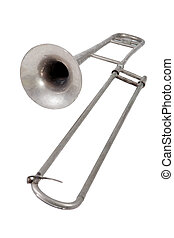Old trombone on white background