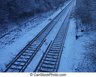 Train Tracks in Snow - Train tracks in snow, in cutting with...