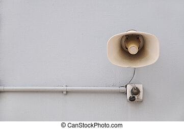 Wall-Mounted Loudspeaker - Public address system loudspeaker...