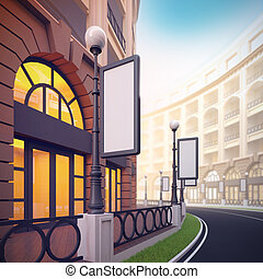 Retail street with blank template billboards - A 3d...