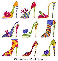 moda, sapatos, decorativo, elementos