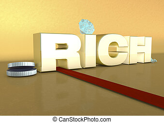 Rich - Illustration of the word richwith coins and diamonds...