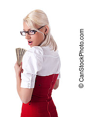 sexy blond business woman hide money - sexy blond business...