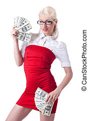 sexy blond business woman in red offer dollars