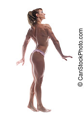 strong woman body builder posing topless isolated