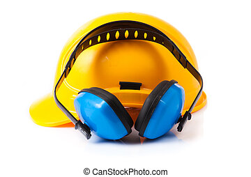 Plastic safety helmet and hearing protection. isolated -...