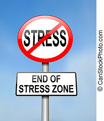 End of stress - Illustration depicting red and white...