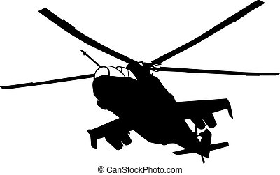 Helicopter - Flying Mi-24 Hind helicopter silhouette Vector...