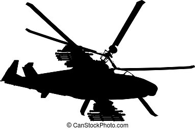 Flying helicopter - Russian Ka-52 Hokum B attack helicopter...
