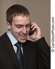 Business Dialogue - Young business man with braces speaking...