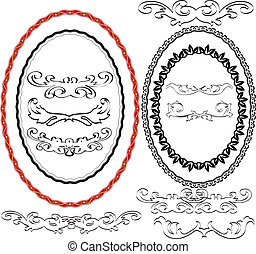 oval border, frame and ornaments - silhouette