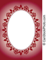 red background with frame roses