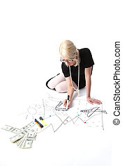 Blond business woman dream about travel