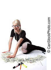 Young blond business woman count money