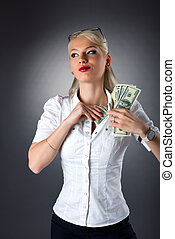 young blond woman hide money under shirt - Beauty blond...
