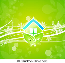 Eco nature home Christmas background - Vector illustration...